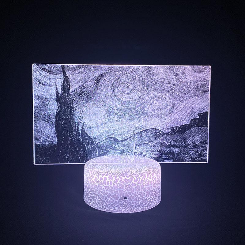 Bebek Aydınlatma Işık 3D Resim Lambası LED Yıldız Gece Nightlight Renk Değişen Van Gogh Yatak Odası Ev Partisi Atmosfer Dekor Hediye