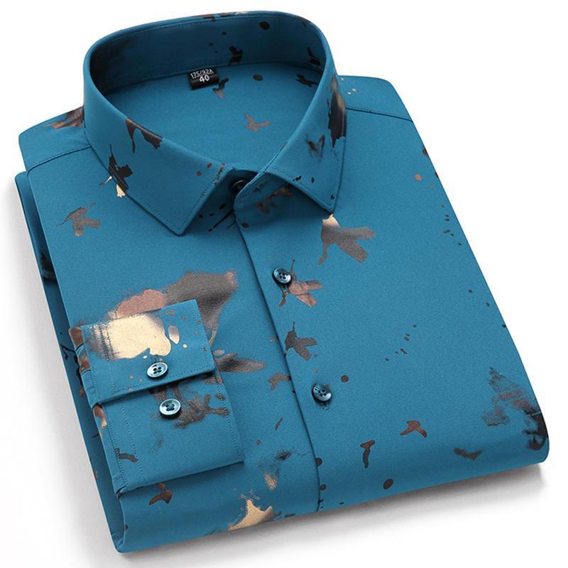 남성용 긴 소매 인쇄 캐주얼 셔츠 표준 맞는 편안한 부드러운 얇은 남성 패션 수없는 셔츠