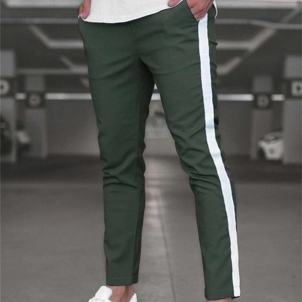 2020 hombres casuales pantalones flacos de la pista de pantalones de fondo de la calle Streetwear hombre pantalón lado raya moda hombres joggers pantalones