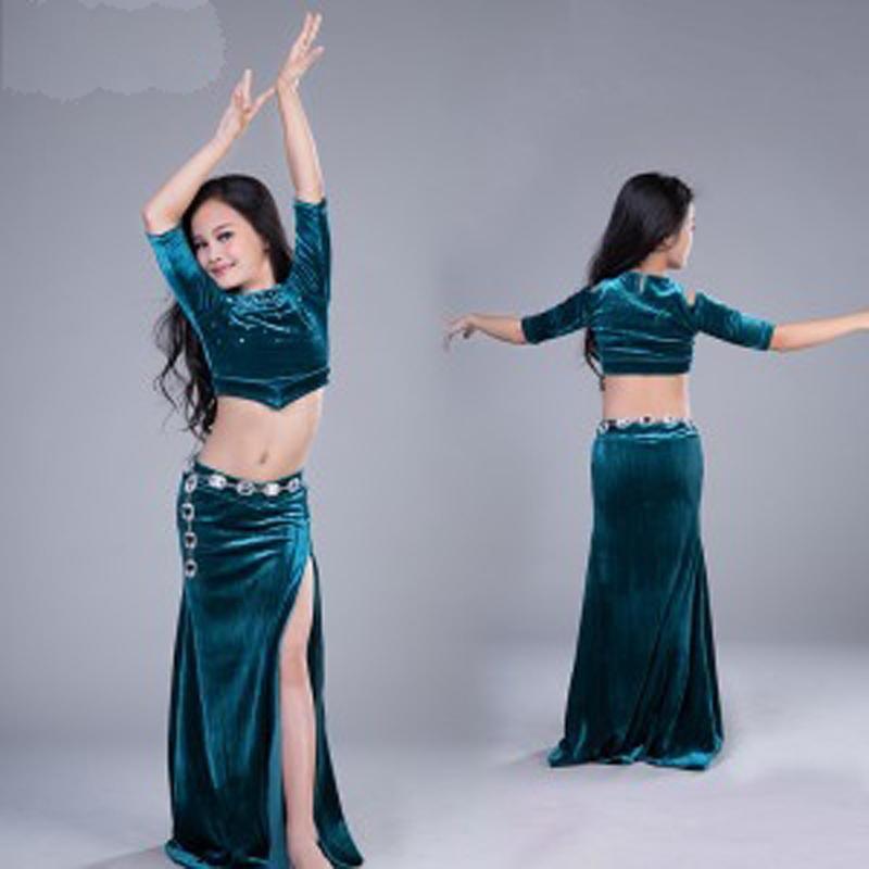 Sexy bauchtanz kostüm set kinder kleid 2 teile / satz kind bollywood kostüme mädchen leistung bauchdance trägt bühnen tragen