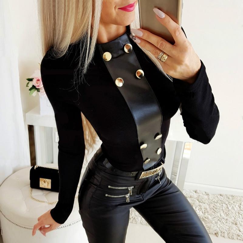 Zarif Düğme Deri Patchwork Uzun Kollu Kadın Bluz Seksi Gömlek Bayanlar Giyim Kadın Bluz Gömlek Tops