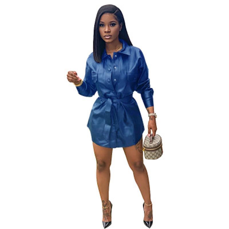 Bayanlar PU Deri Elbise Moda Eğilim Uzun Kollu Yaka Cor4eset Kısa Etek Tasarımcı Kadın Sonbahar Yeni Düğme Casual Slim Artı Boyutu Elbise