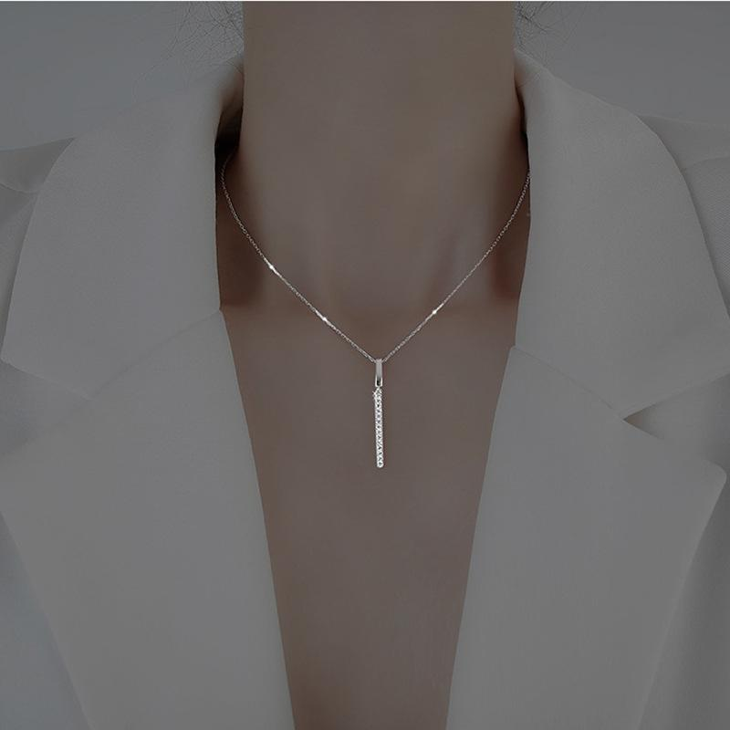 Kadınlar için Gümüş Uzun Şerit Kolye CZ Klavikula Zincir Güzel Takı Hediyeler Zincirleri