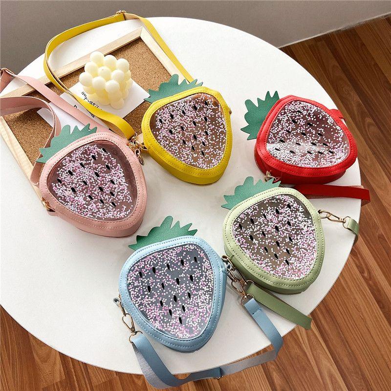 귀여운 미니 여자 핸드백 패션 딸기 Quicksand 젤리 키즈 어깨 메신저 가방 아이 지갑 어린이 가방