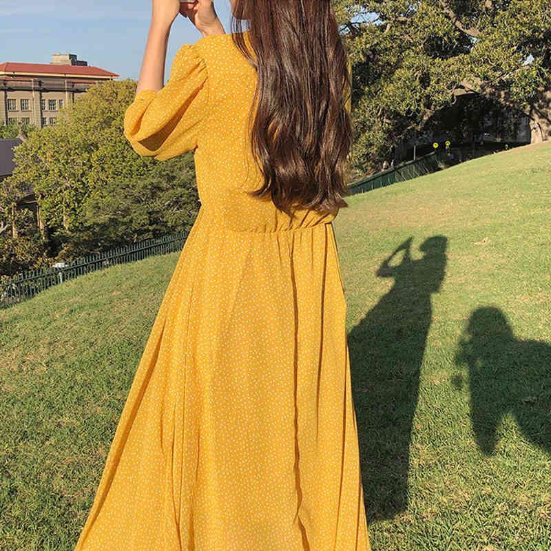 Robes Chic Square Collier Heart Bouton Femme Polka Dot à manches courtes Été Robe femelle A-Line Vestidos Femme TG2H