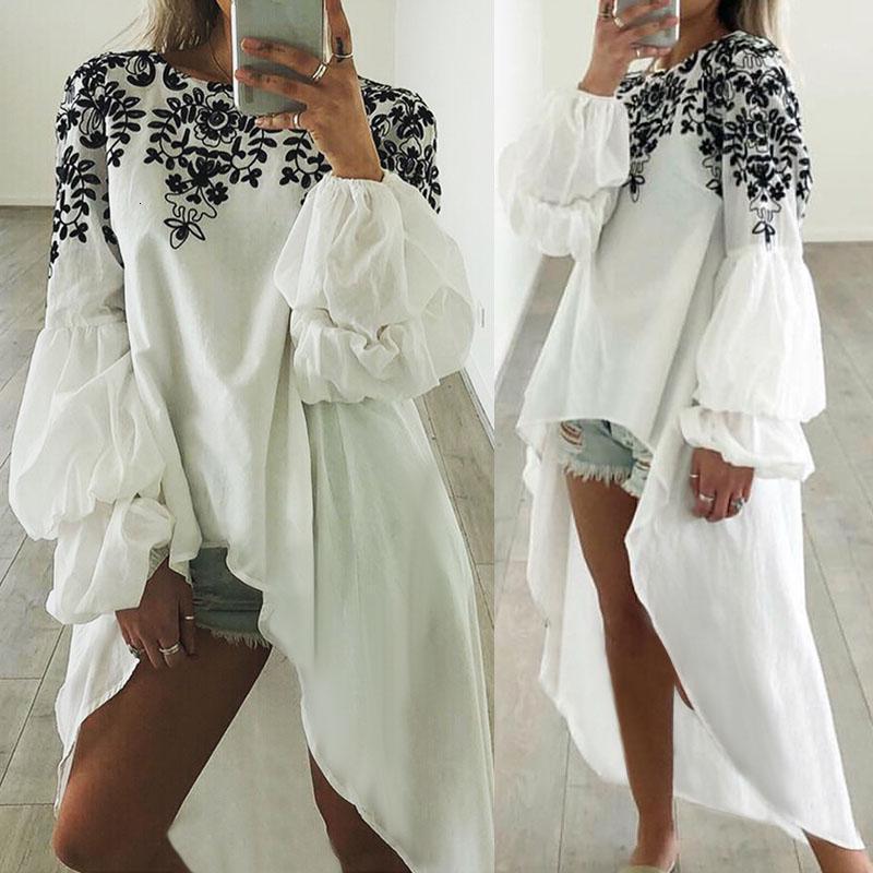 Celmia 패션 인쇄 여성 긴 랜턴 슬리브 탑 빈티지 긴 블라우스 비대칭 튜닉 셔츠 캐주얼 느슨한 Blusas Mujer 5xl1