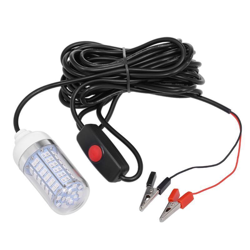 Pêche sous-marine Attirez le système de recherche de poisson lampe à LED de lumière avec cordon d'alimentation de 30 pieds et accessoires de clip de batterie
