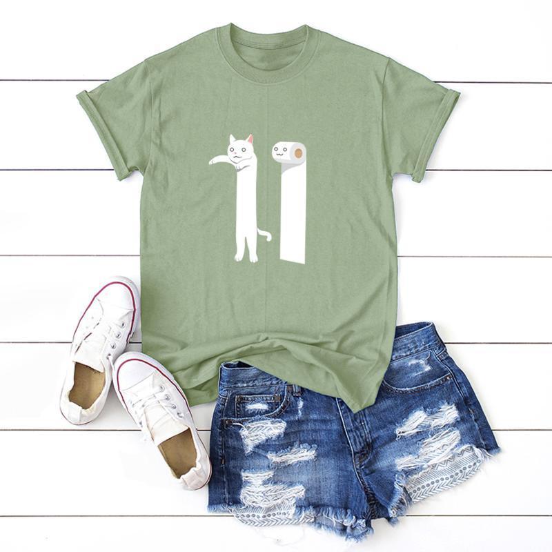 Women's T-Shirt 2021 Harajuku Funny Graphic Print Tshirt Cotton T-shirts Female Short Sleeve Tees Tops Oversize Summer Woman Clothing