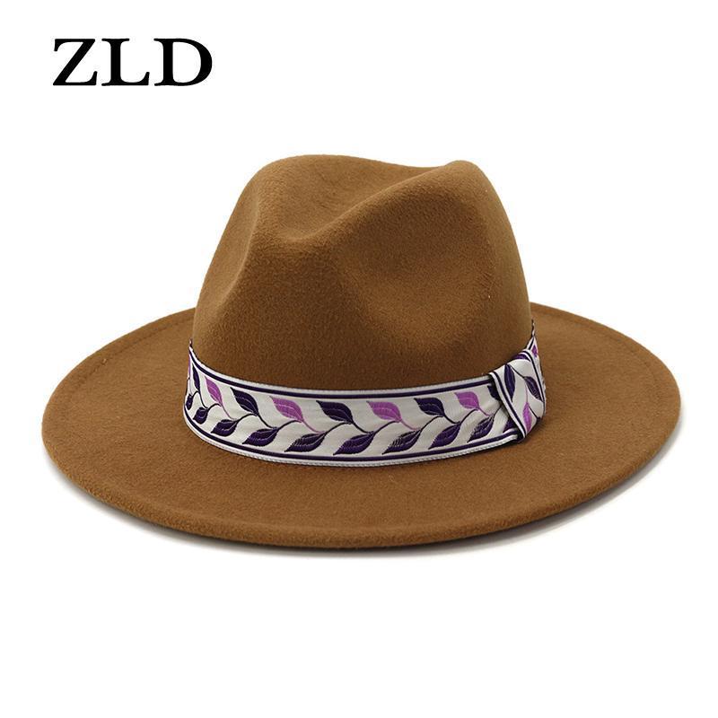 Kış Erkekler Büyük Dikilen Caps Moda Bayanlar İngiliz Klasik Caz Şapka Retro Parti Kadınlar Rahat Kap Fedoras Geniş Ağız Şapkalar