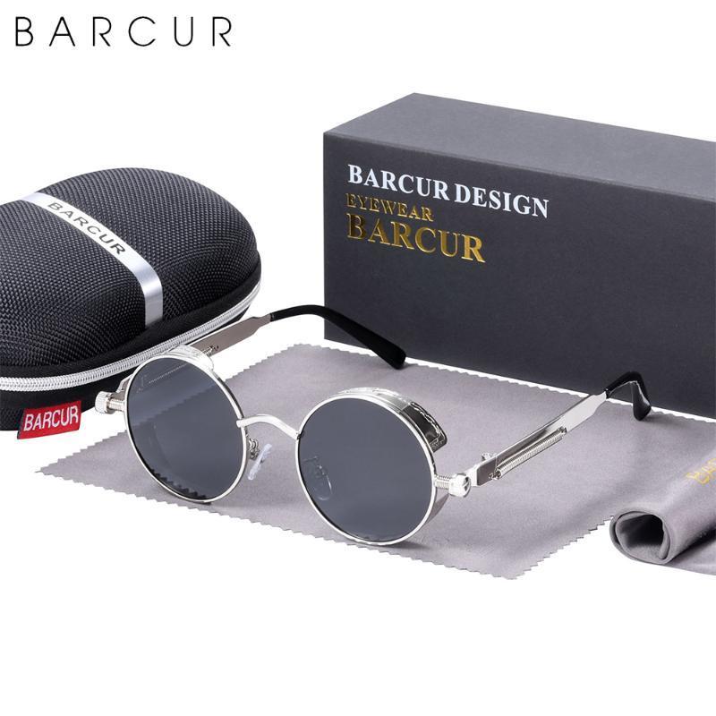 Steampunk 레트로 디자인 선글라스 라운드 여성 편광 남자 태양 안경 미러 아이웨어 야간 비전 트렌드 스타일 UV400