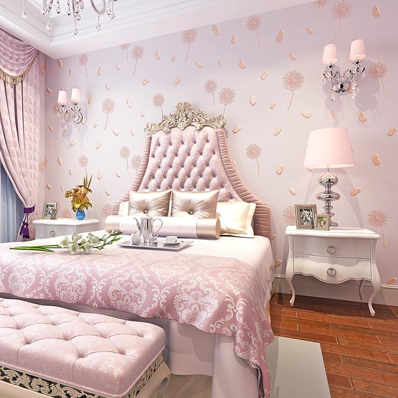 Duvar Kağıtları Kızlar Rustik Modern Duvar Kağıtları Ev Dekor 3D Karahindiba Olmayan Dokuma Duvar Kağıdı Sıcak Kırsal Oturma Odası Yatak Odası Papel de Parede