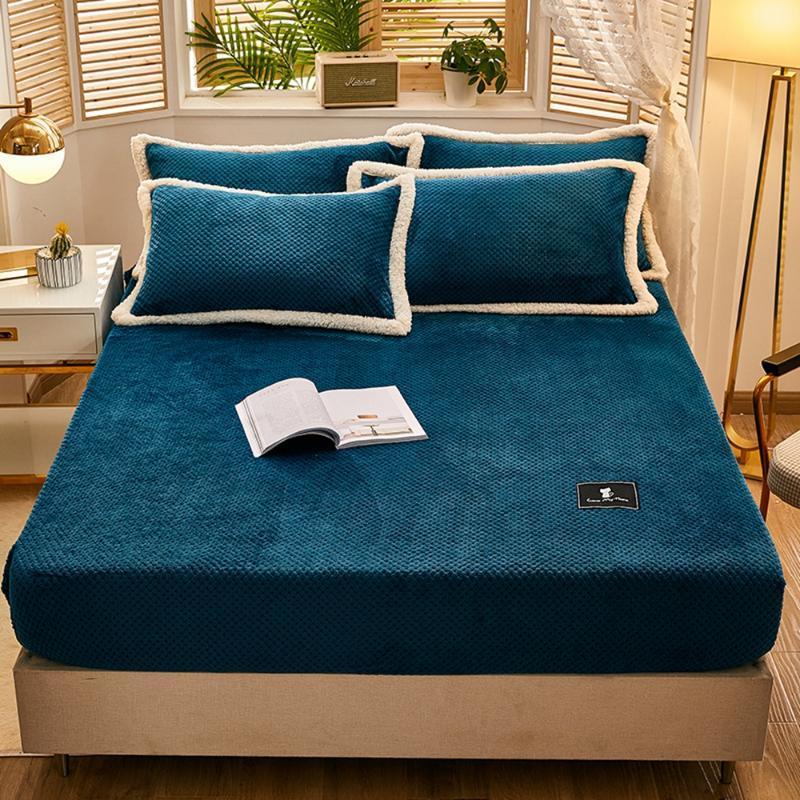 Lençóis Conjuntos Azul Color Sólido Cama de Flatagem Inverno Quente Plush Folhetos Folha Macio Mink Cashmere Colchão Elástico Colcha Elastic