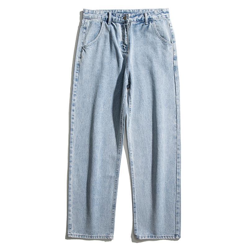 Jeans masculinos retro cor sólida denim streetwear harajuku hip hop casual jogador calças calças
