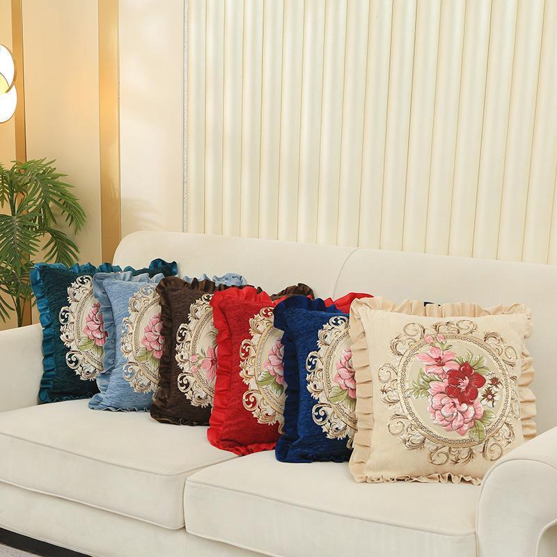 Kissen / dekorative Kissen Luxus-Cover-Anlage-Koffer-rote Baumwoll-Pink-Kissenlip-Blumen-Kissenbezug Home Decor Büro-Auto-Stuhl 48x48cm