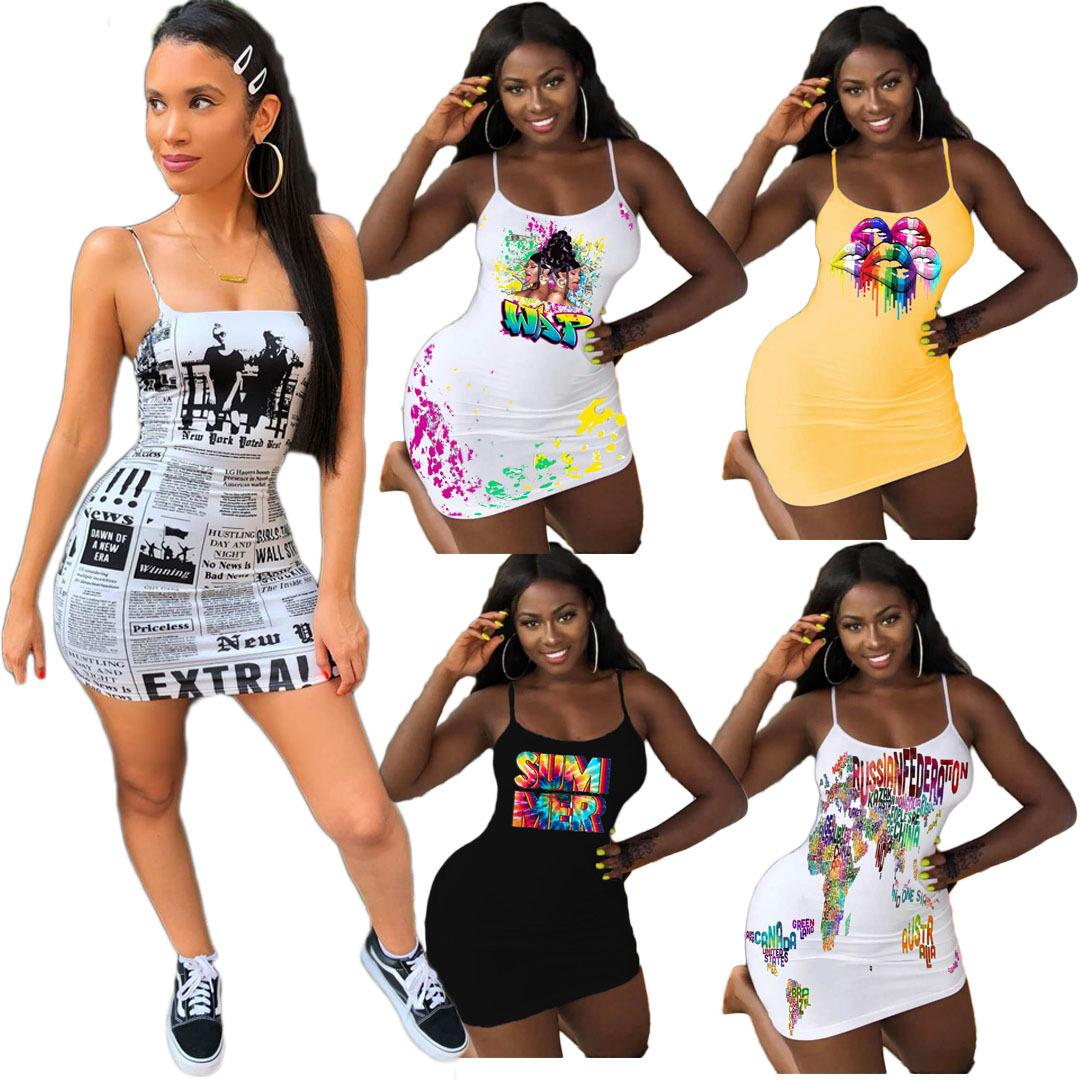 مصمم التنانير اللباس للنساء الربيع والصيف إلكتروني متعدد الألوان طباعة فتح الظهر مثير قصيرة الكرة ثوب تنورة زائد الحجم