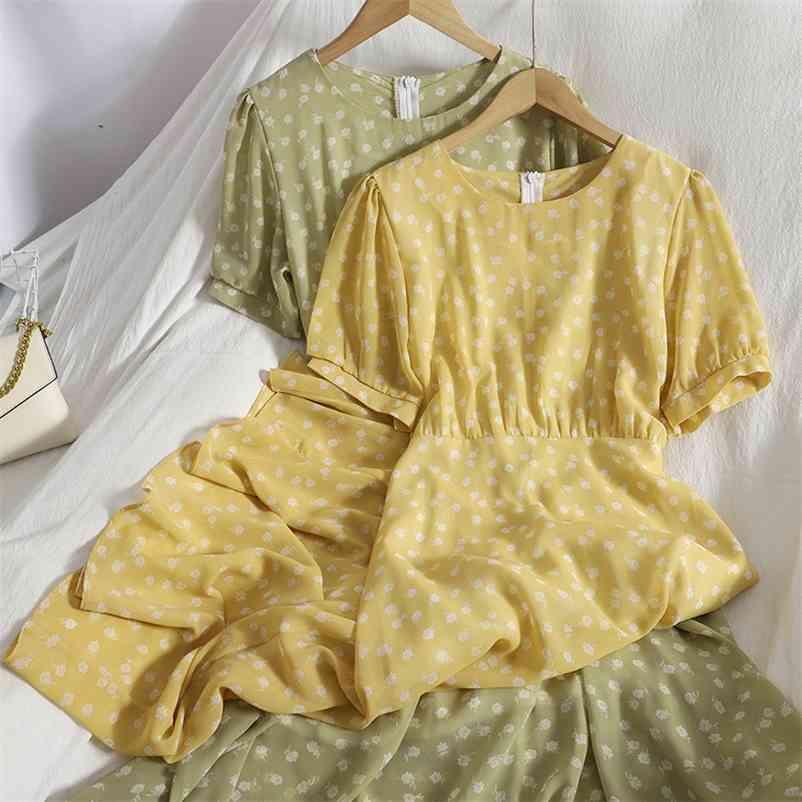 Summer style Korean gentle chiffon maxi Dress for womens puff sleeve sweet floral dress wild thin o neck dress vestidos 210515