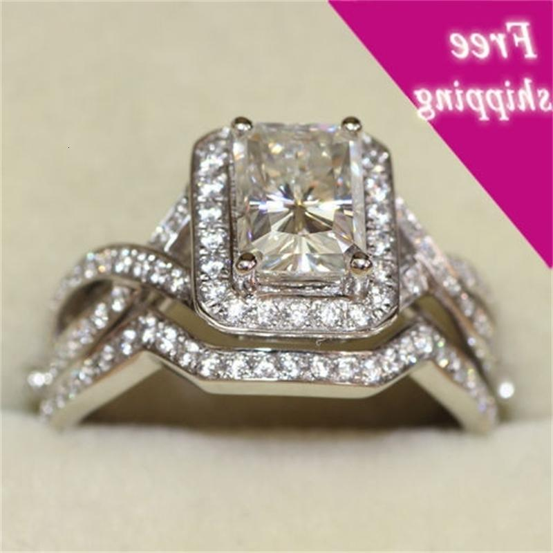 Tamanho 5-11 Choucong princesa corte luxe moda jóias 10kt ouro branco cheia cz gem casamento casamento senhora anel de anel