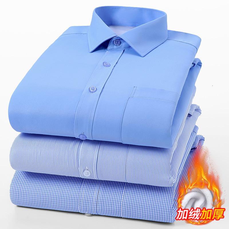 Otoño e invierno Cálido blanco Camisa delgada de los hombres de felpa gruesa negocio no hierro profesional manga larga