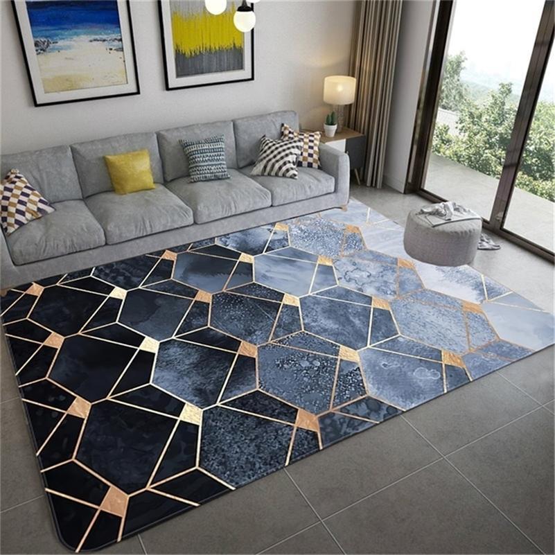 Nordique graient gris géométrique tapis de marbre salon mode salle de luxe tapis tapis tapis pour chambre à coucher tapis de chevet luxe 210317