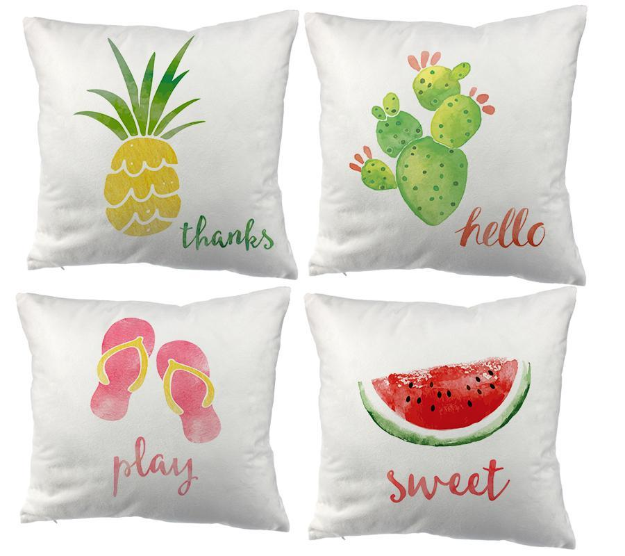 Watercolor Slippers Pineapple Watermelon Cacti Printed Cushion Cover Party Supplies Decoration Throw Pillow Case For Home Cushion/Decorative