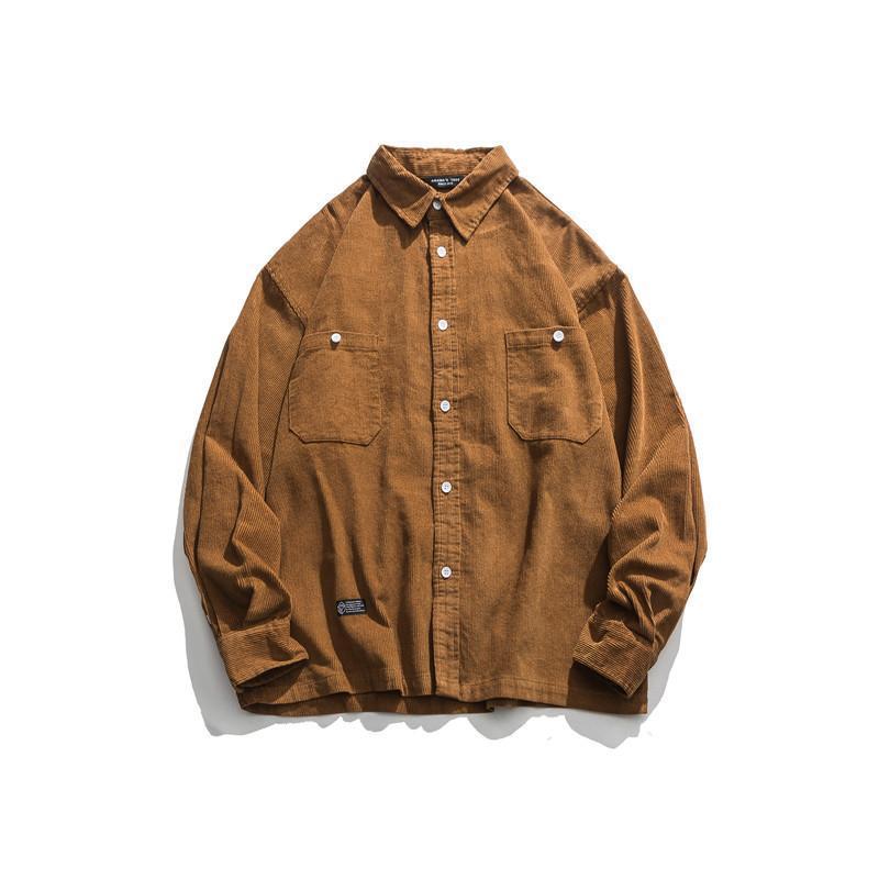 봄과 가을 패션 인사 모든 일치 셔츠 남성용 복고풍 캐주얼 느슨한 긴팔 자켓 셔츠