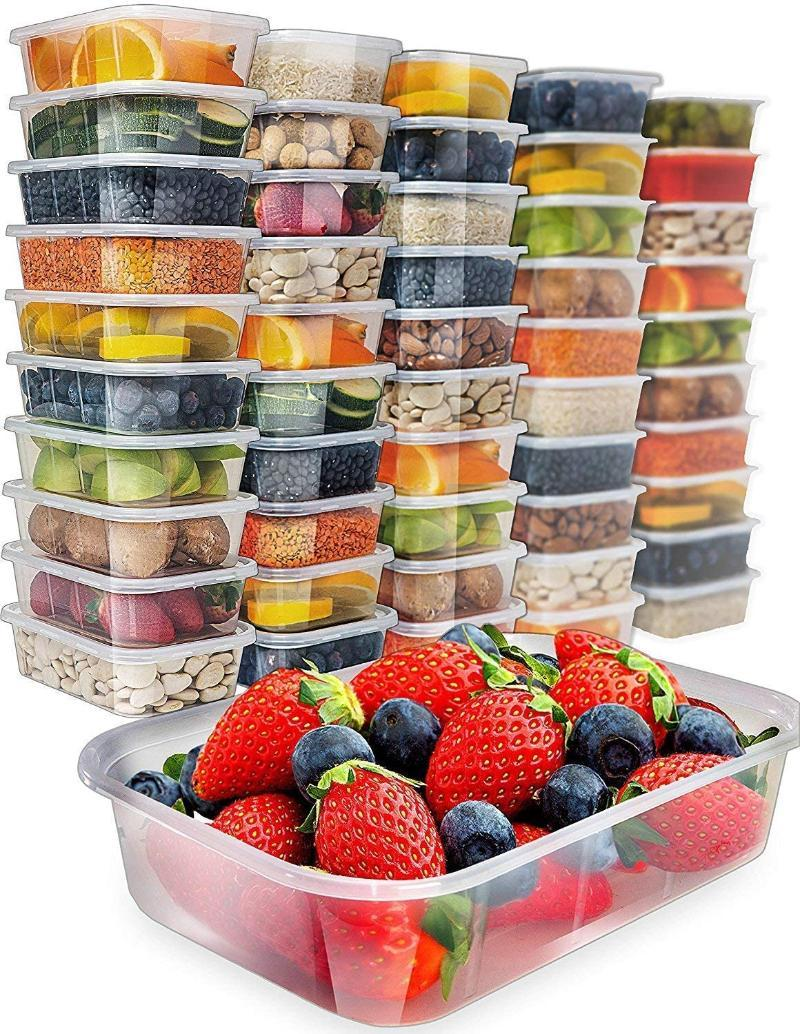 20Pack Plastic Container Bento Box Meal Prep Containers Kicthen Disposable Lunch With Lid Take Out