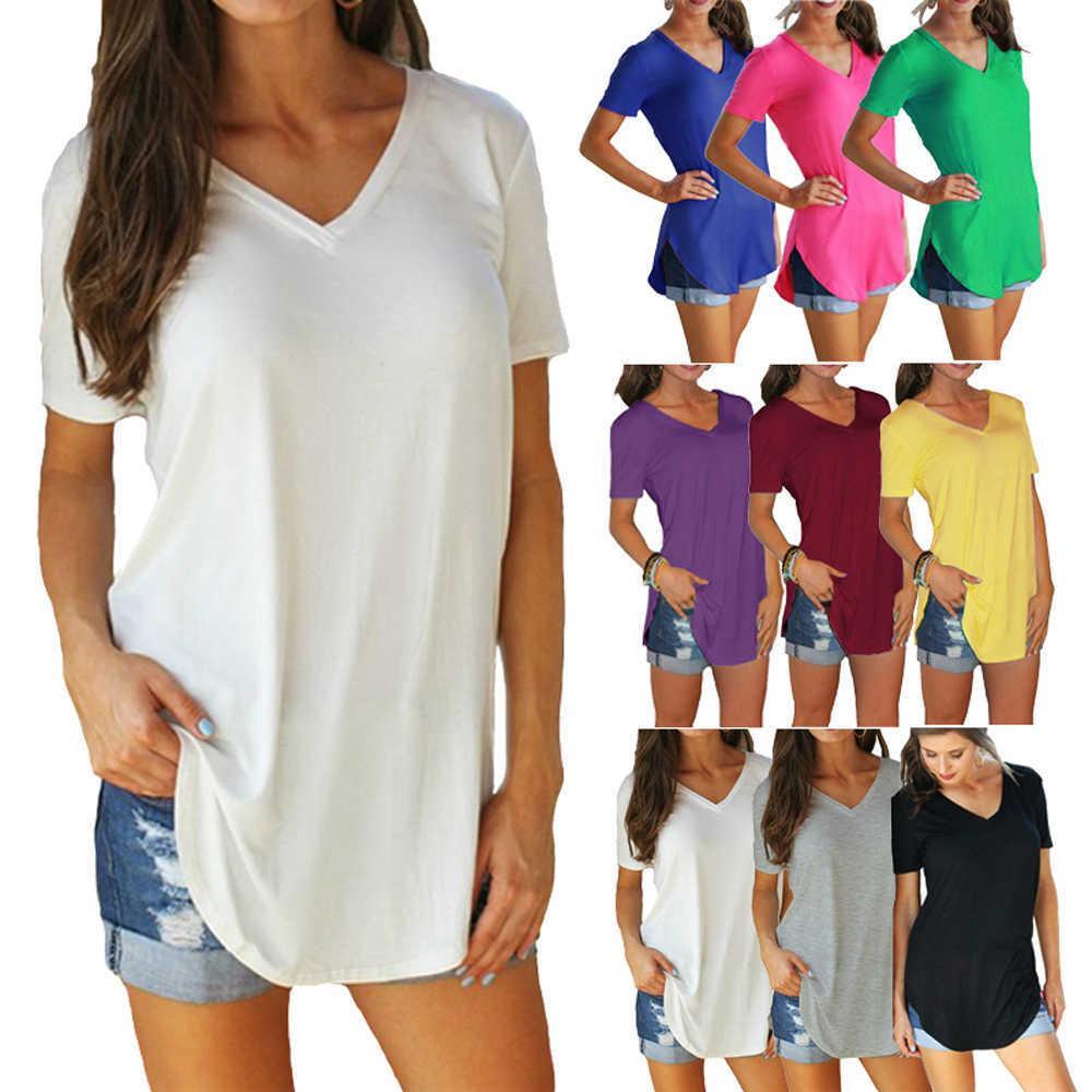 Frauen Sommer V-ausschnitt Kurzarm T-shirt Lose Sexy Camiseta Feminina T-shirts Weibliche Plus Größe Lange Stil Tops Y0601