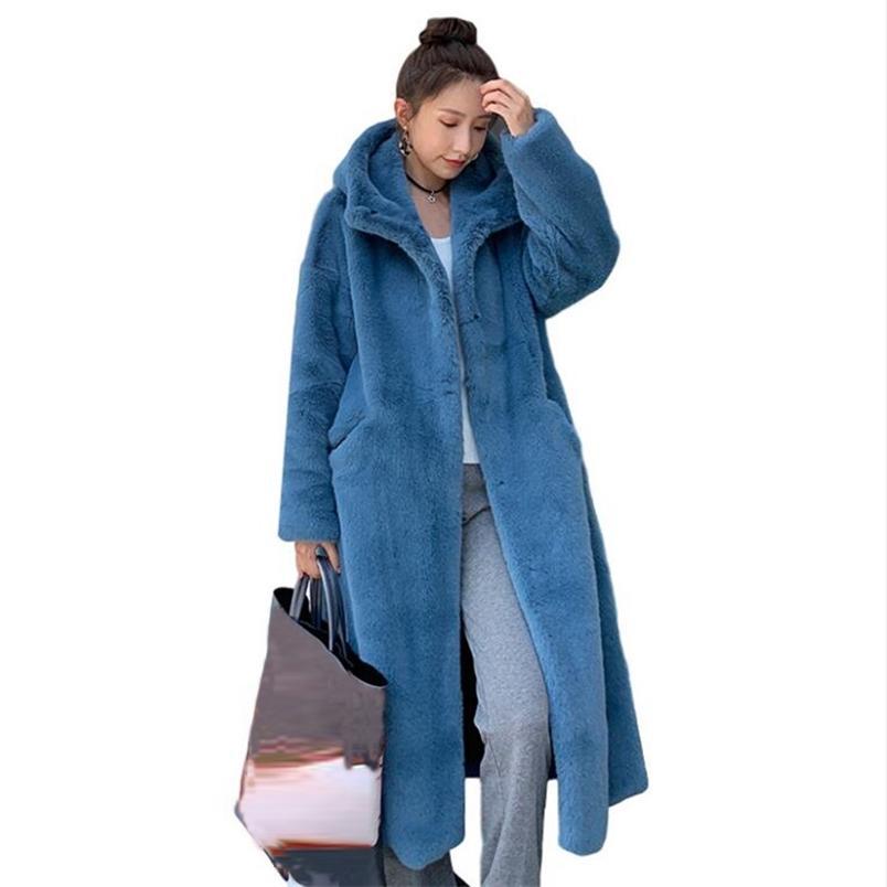 Kış Coat Kadınlar Faux Tavşan Saç Kürk Kore Kapüşonlu İmitasyon Vizon Saç Uzun Ceket Gevşek Kalın Sıcak Faux Kürk Ceket 210913