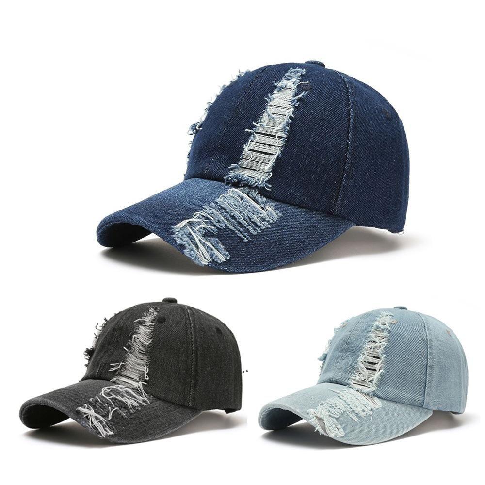 Capuchon de baseball déchiré Jeans Cowboy Peaked Caps Hommes lavés Sun Hat Summer Sport EXTÉRIEUR SUR SOL HATS EURAMERICAN OWB7392