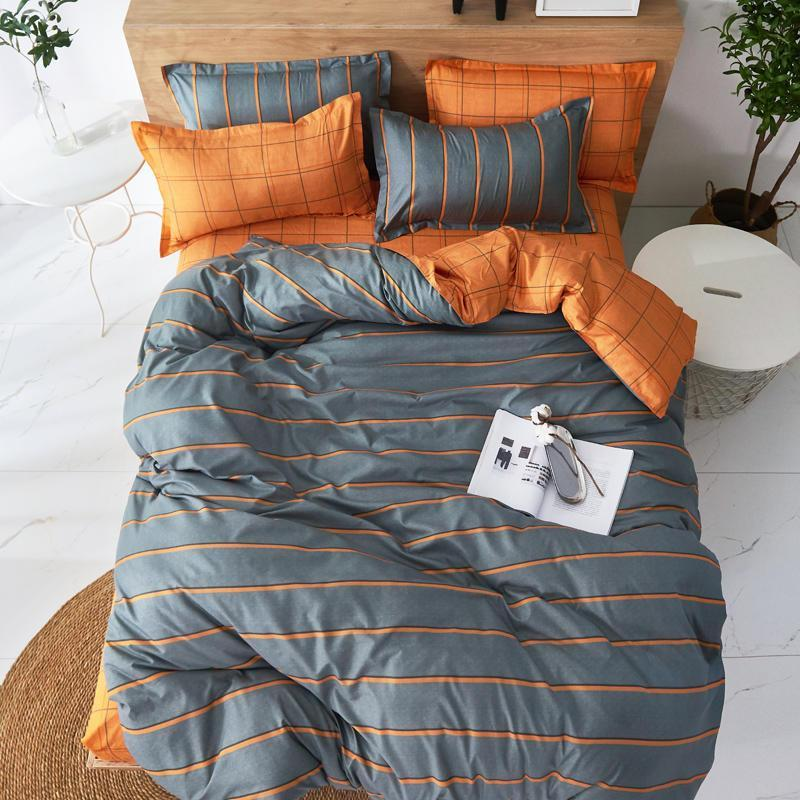 Bettwäsche-Sets 2021 Home Textile Duvet Cover Kissenbezug Flachbett Blatt Streifen Geometrisch Braun Einfache Bettwäsche Set Junge Teen Erwachsene Mädchen