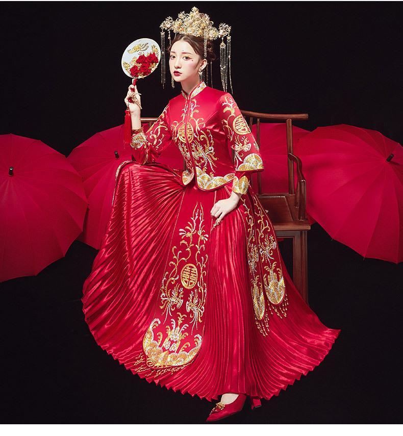 Stile cinese squisito cheongsam vestito da sposa ricamo fenice sposa costume orientale matrimonio set plus size abbigliamento etnico