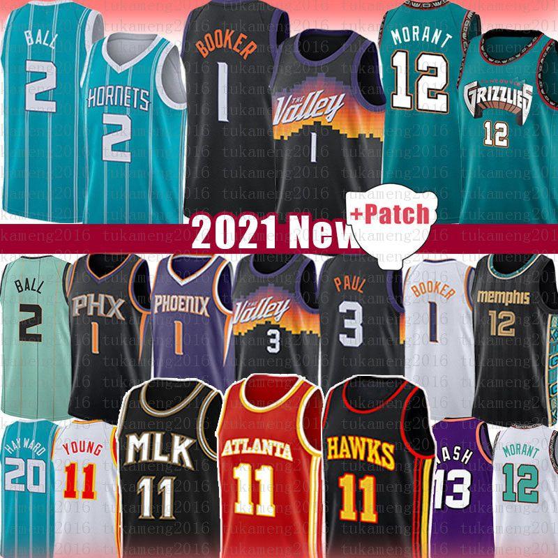Devin TRAE 1 Bucher Chris Junger Paul Basketball Jersey JA LAMELO Morant Steve Ball Nash Atlanta Phoenix Hawks Sonnen Memphis Charlotte Grizzlies Dekre Hornets Ayton