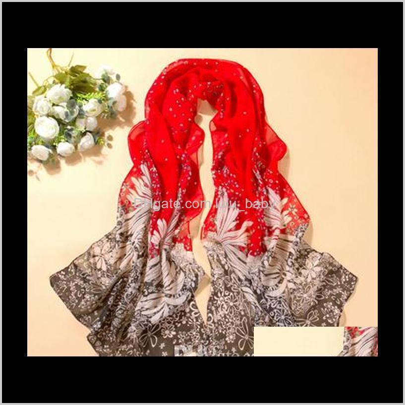 Summer Pashmina Womens Long Scialle stampato Cape Silk Chiffon Tippet Silenziatore Echarpes DHT155 O8W4U OMR2Z