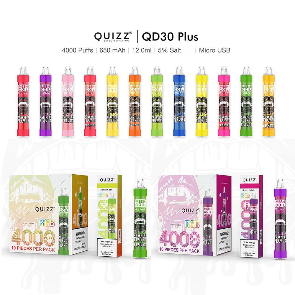 12 Renkler Vapmod Quizz QD30 Artı Tek Kullanımlık E-Sigaralar Vape Kalem Kiti XL Akış 4000Puffs 12 ml Kapasiteli Pil Örgü Bobin Buharlaştırıcı