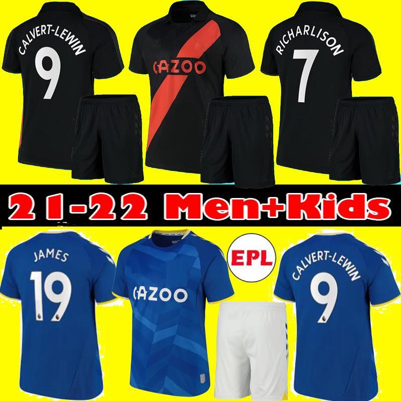 Hombres Niños 21 22 Jersey de fútbol James Calvert Lewin 2021 2022 Allan Doucoure Richarlison Sigurdsson André Gomes Inicio Camisa de fútbol