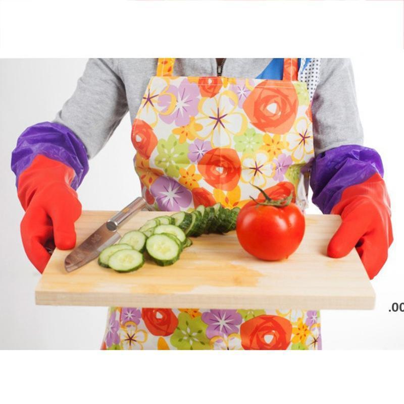 Gant de latex étanche avec coton cuisine nettoyage de la vaisselle vaisselle gants en caoutchouc épaississement de manches longues gants de blanchisserie llf9017