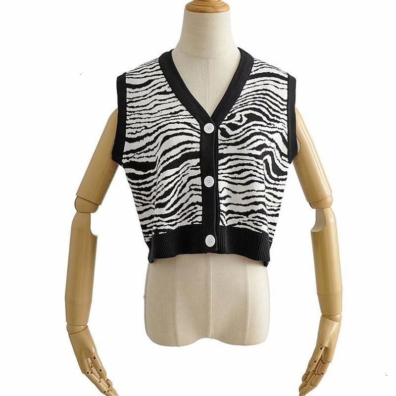 Frauenpullover Frauen Herbst Zebra Gestreifter Sleeveless Gestrickte Winter Weibliche Lässige V-Ausschnitt Einzige Breasted Slim Cardigan Weste XLUH