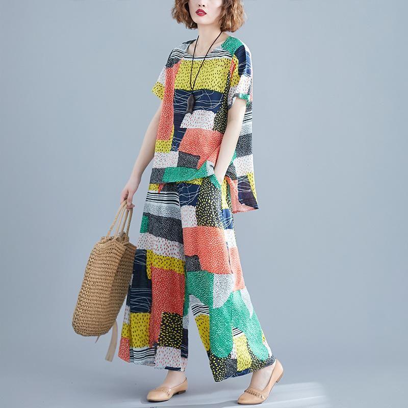 Plus Size Women Sets Summer Big Loose Female Set Cotton Linen Lady Tops Shirt Wide Leg Pants Vintage Print 2021 GD739 Two Piece Dress
