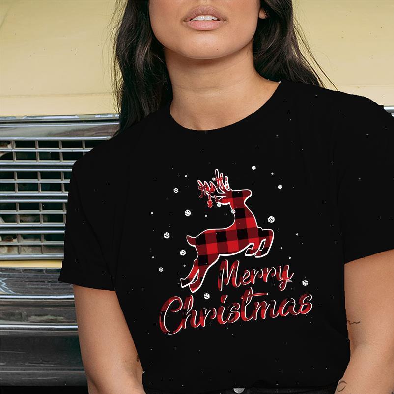 Merry Christmas Deer Printing Womens T Shirt Vestiti estetici Abbigliamento per la moda Casalinga Castelli in cotone Crew Collo Harajuku Top femmina