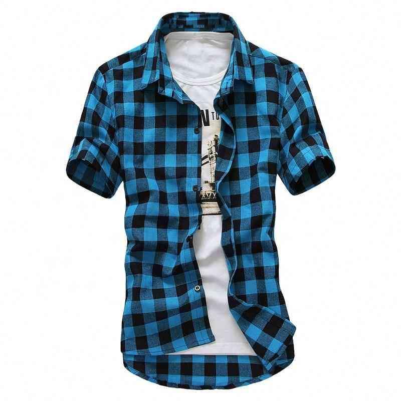 셔츠 사용자 정의 도매 캐주얼 남자 패션 슬림 피트 블루 격자 무늬 셔츠 여름 반소매 남자 블라우스