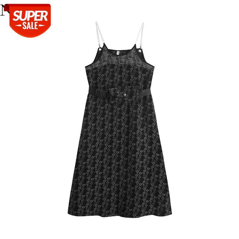 Mulheres 2021 Sexy moda com preto retrô padrão floral vestidos mujer cadeia cinta vestido vestido elegante # 9l0h