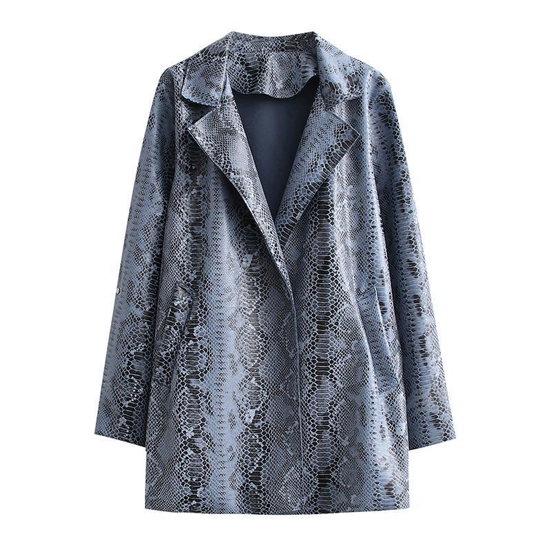 Women's Leather & Faux ZXQJ Women 2021 Fashion Snakeskin PU Jacket Coat Vintage Long Sleeve Pockets Side Vents Female Outerwear Chic Tops