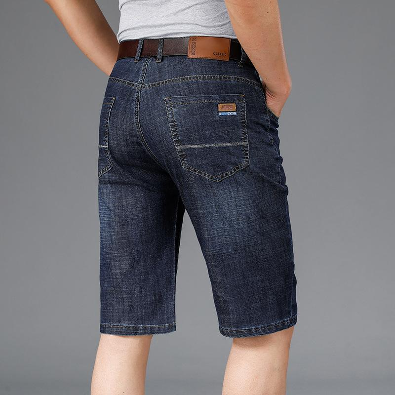 2021 5-point Summer Thin Men's Shorts Jean Loose Straight Stretch Breeches 7-point Jeans