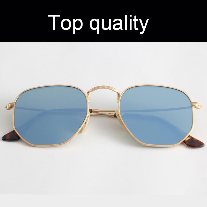 أعلى جودة سداسية معدنية 3548 النظارات الشمسية الرجال النساء عدسات الزجاج المسطح نظارات الشمس للنساء امرأة مع حقيبة جلد