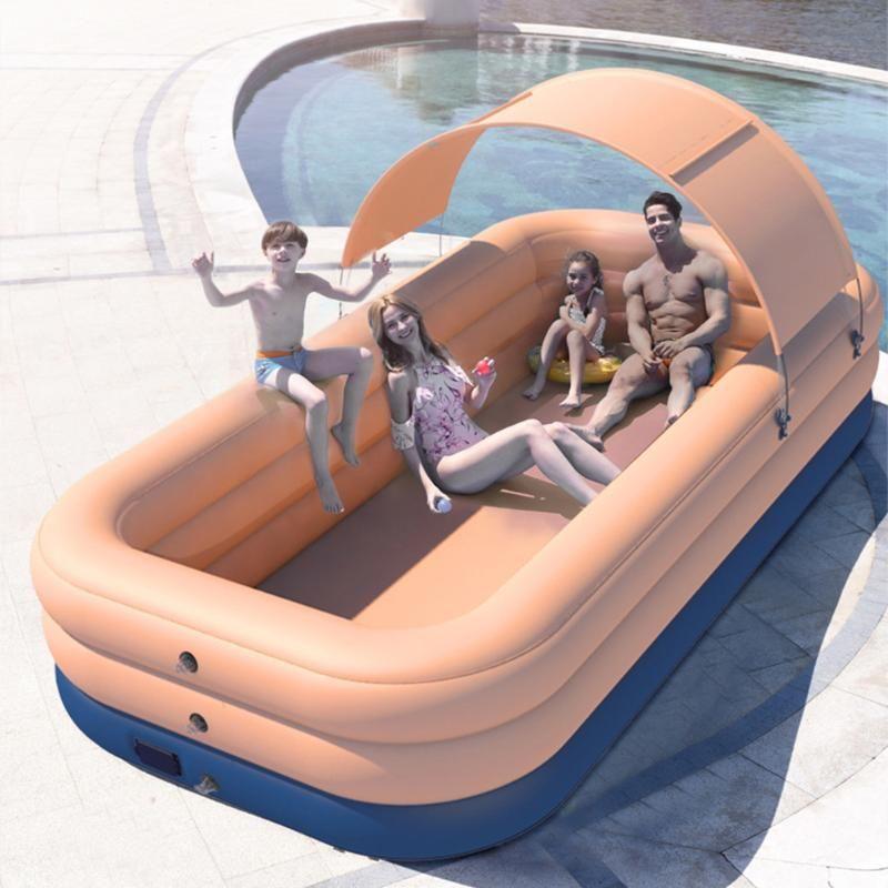 Accessoires de piscine 2.1 / 2,6 M Rectangle Natation Pag d'épaisseur gonflable sans fil avec pare-soleil arrière-cour de l'eau de jardin d'été