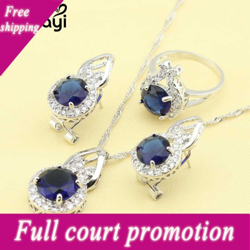 New Fashion Silver Jewelry Set per le donne Zircone Blu Zircone Bianco Crysta Creta Superba anelli a catena Orecchini Veleno di Natale