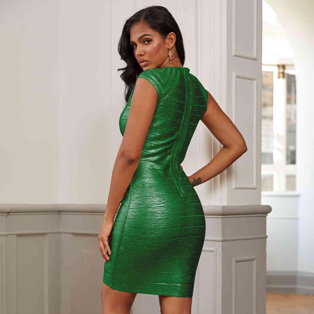 Vestidos A Straddle Lanzamiento Sexy Green Metallic Mujer Bandage Bodycon Club en vestido de fiesta ZJM0