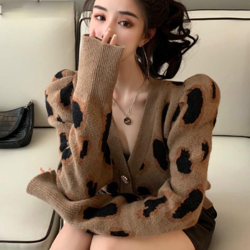 حطبة النسائية المحملات Leopardo Do خمر Casaco de Malha Cardigan السبابة النفخة Manga Longa Camisola Com Decote EM V Nova Mulher Malhas Jaquet