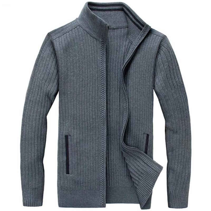 Yeni Erkek Örme Ceket Sonbahar Kış Erkek Fermuar Slim Fit Kazak Kalın Sıcak Rahat Triko Standı Yaka