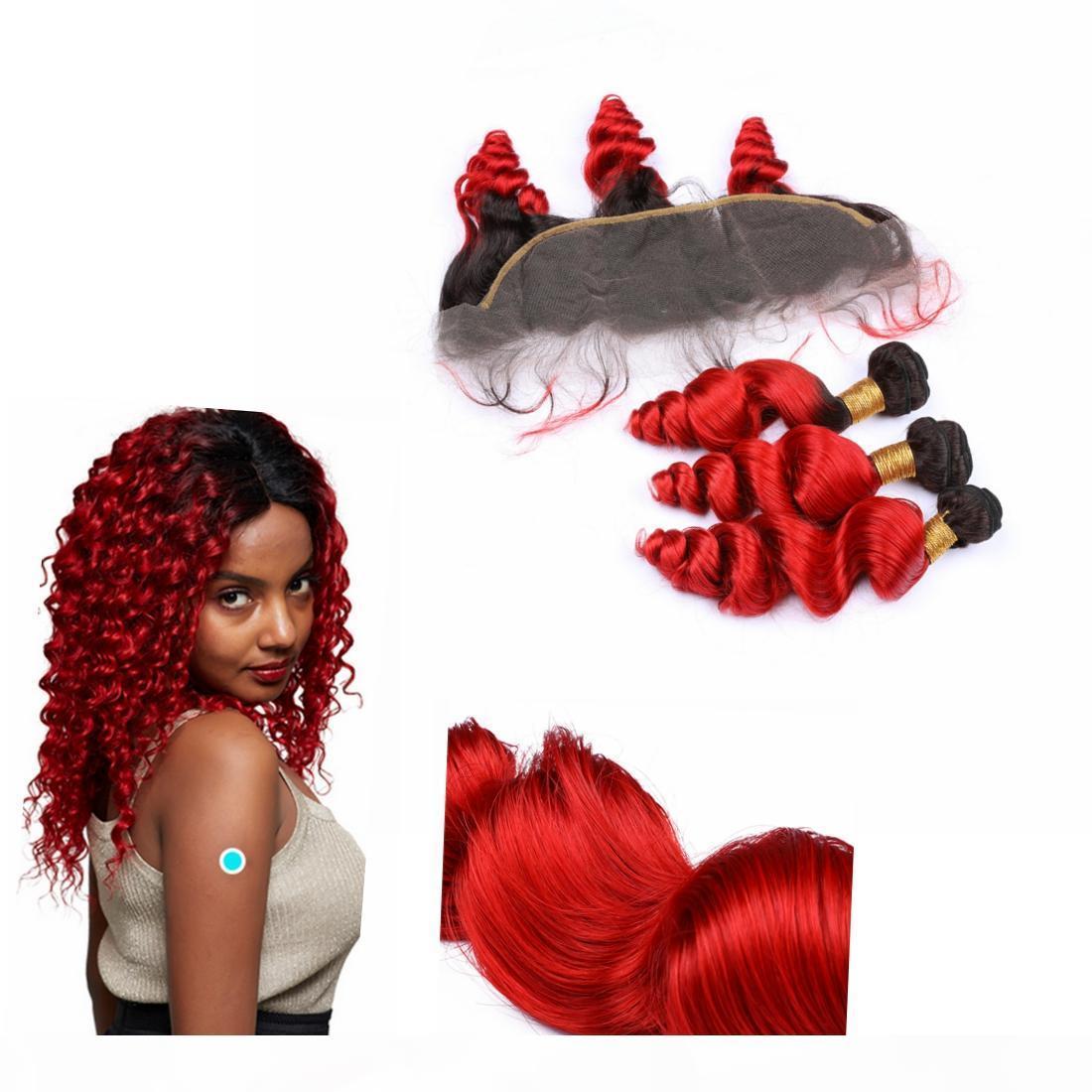 """Ombre Peruvian Tissain Cheveux Human Bundles avec racine foncée de fermeture 13 """"* 4"""" ombre dentelle Fermeture frontale # 1B Fermeture d'onde en vrac rouge"""